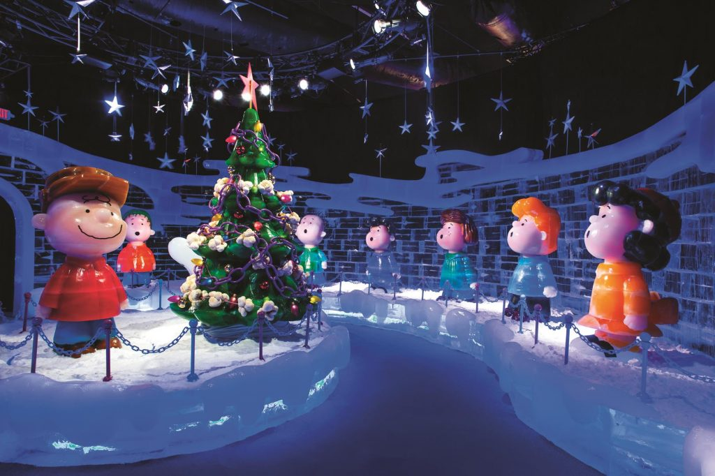 Ice sculptures of Peanuts cartoon characters will enchant Christmastime visitors to the Gaylord Texan Resort in Grapevine.